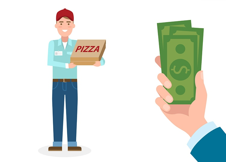 Pizza, cash or compliment?