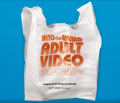 Cause marketing campaign on a plastic bag
